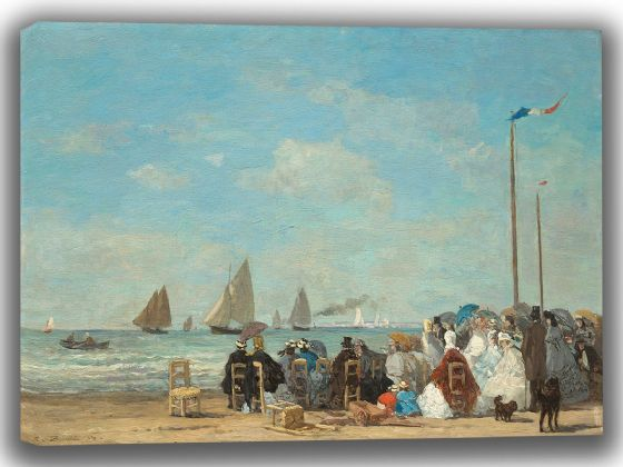 Boudin, Eugene: Beach Scene at Trouville. Fine Art Canvas. Sizes: A4/A3/A2/A1 (003952)
